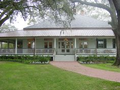 Clubhouse Acadian style home with huge veranda nestled in oak trees.perfect spot for our wedding!Acadian style home with huge veranda nestled in oak trees.perfect spot for our wedding! Acadian Style Homes, Plantation Style Homes, Southern Plantation Style, Style At Home, Farmhouse Plans, Modern Farmhouse, Future House, My House, Cottage House