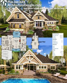 Architectural Designs Craftsman House Plan 14656RK has a highly ornamented exterior and gives you 2,300 square feet of heated living space, including a full suite option you can build over the garage that gives you 4 beds if you build that out. Ready when you are. Where do YOU want to build?