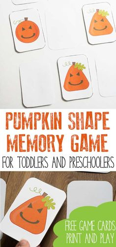Pumpkin themed shape game for toddlers and preschoolers. Inspired by the book Five Little Pumpkins, this memory game can be printed and played for FREE. Autumn Activities For Kids, Fall Preschool, Toddler Preschool, Preschool Activities, Preschool Colors, Preschool Learning, Toddlers And Preschoolers, Games For Toddlers, Toddler Games