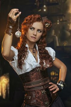 From the Steampunk Fashion Guide to Corsets: Steampunk Woman in Brocade Underbust Corset