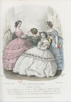 1860 gorgeous Bertha on the blue and on the white dress
