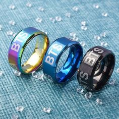 Get your BTS Album Color Tinted Ring with FREE worldwide shipping when you order today. All of Noona's products come with a 30 money back guarantee. Cute Jewelry, Jewelry Rings, Jewelry Accessories, Mochila Do Bts, Bts Bracelet, Bracelets, Bts Bag, K Pop, Bts Shirt