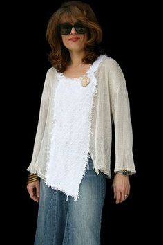 """comfortable everyday tunic that will go with everything. woven, with pretty large holes so that you can show through the other color, if you want, and change the look every time. Cotton and cotton blend. Handmade natural wood button in the front. Size: L/XL Measurements: 46"""" chest, 23"""" long. ......... I am sure we could make this!"""
