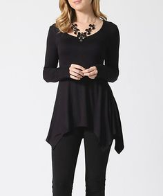 Black Scoop Neck Tunic | zulily