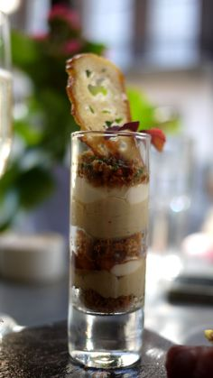 Aubaine canapé - foie gras, maple syrup, praline, roast almond, sugar layered in a shot glass