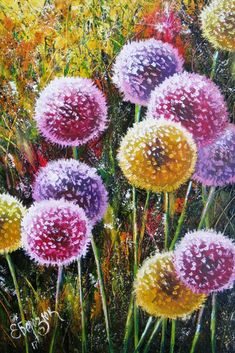 Dandelion painting on canvas. Colorful oil decor.