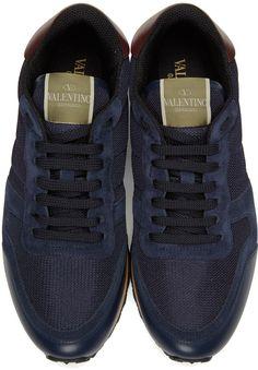 Valentino - Navy Mesh Rockrunner Sneakers