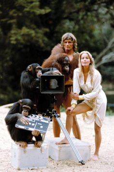 Miles O'Keeffe and Bo Derek on the set of Tarzan The Ape Man directed by John Derek, 1981