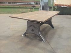 Custom lettered industrial machine base table - Todd Lindsay Designs