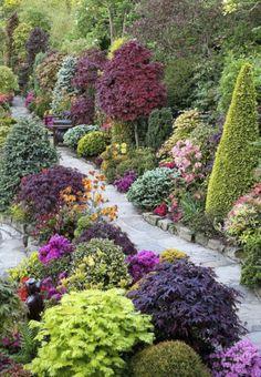 natural stone garden paths, plants, shrubs, flowers and trees – English garden Source Garden Paths, Outdoor Gardens, Beautiful Gardens, Garden Design, English Garden, Landscape, Japanese Garden, Plants, Garden Inspiration