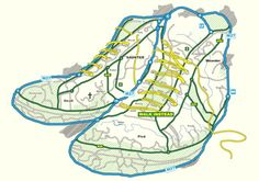 Oliver Moss's Walk Instead t-shirt, illustrated with a map in the shape of running shoes