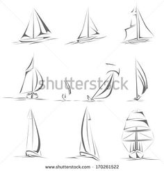 Set of different sailing ships(boat) icon in line style(simple vector). Botes y barcos.