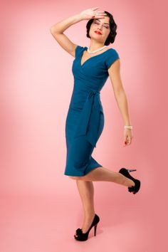 So Couture - TopVintage Exclusive Teal Hourglass Vintage Pencil dress