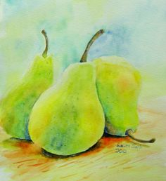 Pears painting original watercolor fruit by SerpentinaDesigns, $38.00