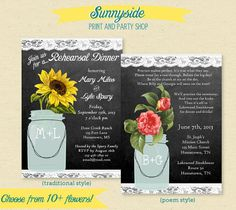 Rehearsal Dinner Invite - Chalkboard Floral Mason Jar Invitation - 10+ flower choices, Sunflower