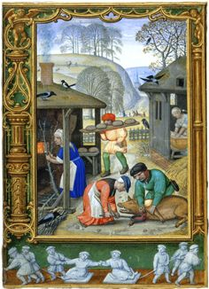 Christmas preparations on a calendar page for December in 'The Golf Book'. British Library MS Additional 24098.