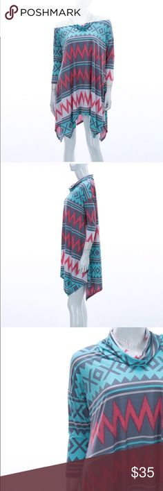 Chevron Mixed Print Cowl Neck Tunic Gorgeous, soft and unique side tail tunic. Perfect with jeans, leggings or capris! Measures 32 inches from shoulder to hem. Tops Tunics