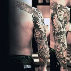 Full sleeve tattoos catch more eyes than their smaller counterparts! A dragon sleeve tattoo reaches all the way around. Check out all these amazing designs! Angel Sleeve Tattoo, Dragon Sleeve Tattoos, Full Sleeve Tattoos, Angel Tattoo Men, Tattoo Arm, Wicked Tattoos, Body Art Tattoos, Tribal Tattoos, Cool Tattoos