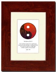 "5x7 Red Mahagony Frame with Yin Yang (Red/Brown) with Mat by Oriental Design Gallery. $31.95. Made in USA. Frame is made of eco-friendly composite wood materials. Easel and hangers included. Wall Hangers must be installed by customer. Instructions included. Each print is mounted on acid-free mat board by using acid free adhesive. Place on Wall or Desk. This is a Yin Yang Print with an original Chinese Proverb written by Qiao Xiao. The proberb is entitled ""The Balance of Tiao..."