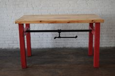 Unique Kitchen Island Custom Made with Reclaimed Pine wood and painted red legs with industrial pipe. Legs can be painted any color you want!