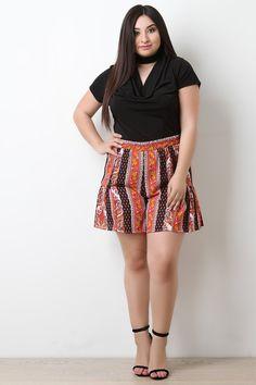 Paisley Print High Waist Shorts – Bend the Trend Boutique Beautiful Models, Gorgeous Women, Plus Size Mini Dresses, Plus Size Girls, Hottest Models, High Waisted Shorts, Paisley Print, Everyday Fashion, Stylish Outfits