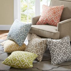 """Features:  -2 Decorative pillows.  -Spot clean only.  Product Type: -Throw pillow.  Style: -Contemporary.  Size: -20"""" Square.  Shape: -Square.  Fill Material: -Polyester/Polyfill.  Number of Items Inc"""