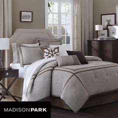 @Overstock - This modern seven-piece comforter set by Madison Park gives your bedroom a sleek, contemporary look. The set includes a comforter, bedskirt, three decorative pillows, and two shams in neutral colors. The bedding is made from machine washable polyester.http://www.overstock.com/Bedding-Bath/Madison-Park-Easton-7-piece-Comforter-Set/5416143/product.html?CID=214117 $79.99