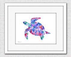 Sea turtle blue red turtle sea turtle print by FluidDiamondArt