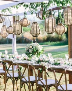 Perfect outdoor wedding reception from in Hawaii planning + design: venue: on the Big Island of Hawaii : florals: rentals: Hawaii Island Events Wedding Flower Decorations, Table Decorations, Wedding Lanterns, Glass Table Set, Outdoor Wedding Reception, Table Wedding, Reception Ideas, Event Planning Design, Deco Floral