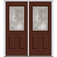 Milliken Millwork 66 in. x 81.75 in. Heirloom Master Decorative Glass 1/2 Lite Painted Fiberglass Smooth Exterior Double Door, Redwood