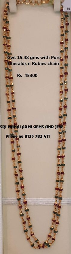New designs of Precious beads chains in 916 Gold added. Stunning gold long haaram with pearls rubies and emeralds. Visit for best designs at most attractive prices.Contact no 8125 782 24 April 2019 Gold Jewellery Design, Bead Jewellery, Pendant Jewelry, Beaded Jewelry, Chain Jewelry, Gold Pendant, Jewelry Sets, Jewelry Necklaces, Ruby Jewelry