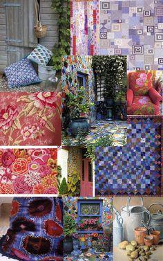 Kaffe Fassett tapestry, quilts and mosaics