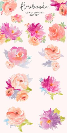 Floribunda is a happy, hand-painted watercolor flower clip art set. Create beautiful watercolor floral combinations on your next logo, invitation, website, and Art Floral, Floral Watercolor, Watercolor Flowers Tutorial, Watercolour Flowers, Watercolor Landscape, Floral Design, Painting & Drawing, Watercolor Paintings, Tattoo Watercolor