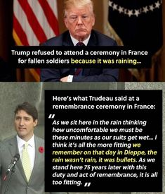 A dig at Trump. also sad Trump can't pay tribute to American fallen heroes. Meanwhile In Canada, Political Quotes, Humanity Restored, Faith In Humanity, Great Quotes, Things To Think About, Wisdom, Shit Happens, Thoughts