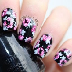 Black & pink flower nails.