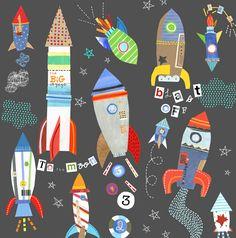 jill mcdonald rocket ships- cuz this is cool too Jill Mcdonald, Space Theme, Kids Prints, Whimsical Art, Art Plastique, Elementary Art, Art Education, Art Lessons, Art Projects