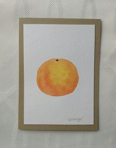 Hand Painted Watercolor Orange Greeting Card, one of a kind by thebeeandbug on Etsy