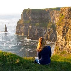 How to see the Cliffs of Moher, Ireland without tourists.**We arrived there around 7pm, and it turns out that was the perfect time to be there! All of the tourists, tour guides, and tour buses had long gone, and the booths and shops near the parking lot were closed. This meant that we didn't have to pay admission and didn't have to deal with the crowds.**