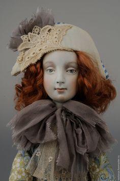 Купить Будуарная кукла Маргарита - голубой, кукла, авторская кукла, кукла ручной работы