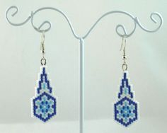 Snowflake Drop Beaded Earrings Winter Jewelry by LazyRose
