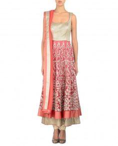 Zari Embroidered Pink Anarkali Suit