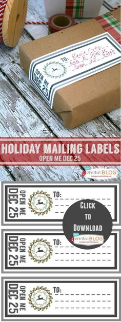 Christmas Printable Labels | Holiday Mailing Labels | Gift Tags |  Free Printables. Use this free printable Open Me on Dec 25th for your mailing labels. Get your free download on Today's Creative Life.