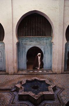 "morobook: "" Morocco.Fez.The courtyard in the interior of a mosque.1985 """