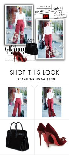 """Burgundy Cold Wool wide pants"" by umay-cdxc ❤ liked on Polyvore featuring Yves Saint Laurent, Christian Louboutin, Kate Spade and EUGfashion"