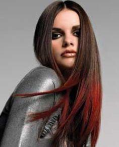 Red dip dye hair