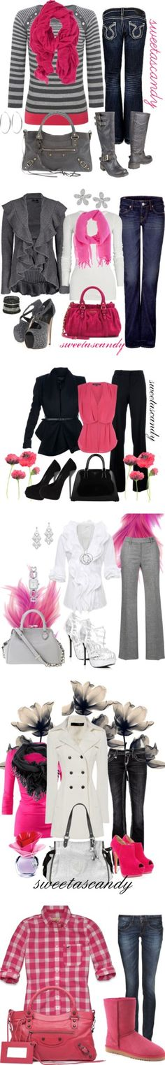 """Pink, Pink and pink!"" by sweetlikecandycane on Polyvore lovvveeee the pink Uggs , the first sweater, hot pink purse"