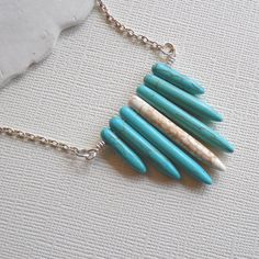 Turquoise and White Howlite Spike Spear Necklace by SolEMarDesigns