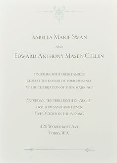 Breaking Dawn wedding invite