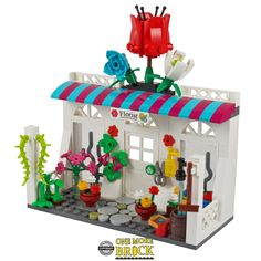 Flower Shop / Florist – One More Brick Lego Flower, Water Barrel, Lego Furniture, Lego Boards, Lego Christmas, Home Catalogue, Lego Projects, Lego Creations, Lego City