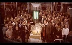 The whole production team for the 50th. Loving that John Hurt is wearing the fez.....and Jenna, you're cuddling the wrong Doctor!!